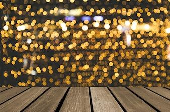 Wood table top Bokeh yellow gold