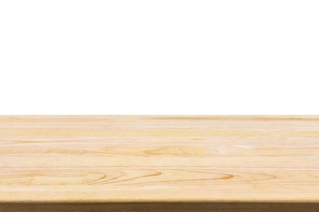 흰색 배경에 고립 된 나무 테이블 탑