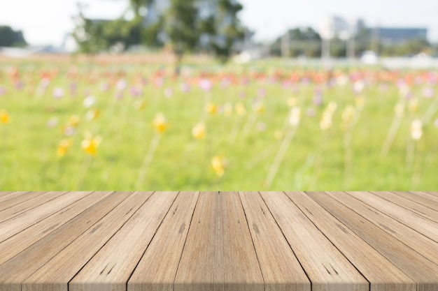 Wood table top on nature graden blurred background
