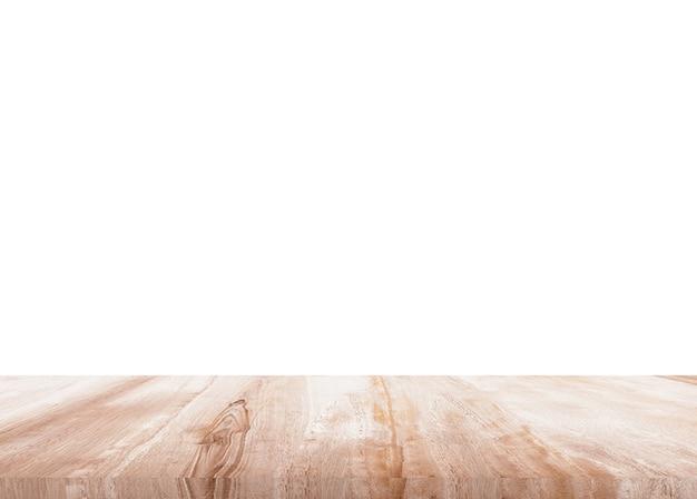 白い背景の上の木のテーブル。