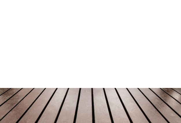 Wood table top on white background