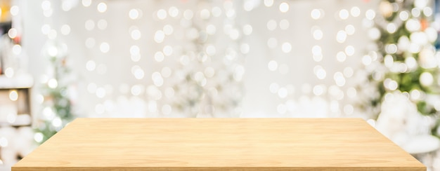Wood table with christmas decor in living room