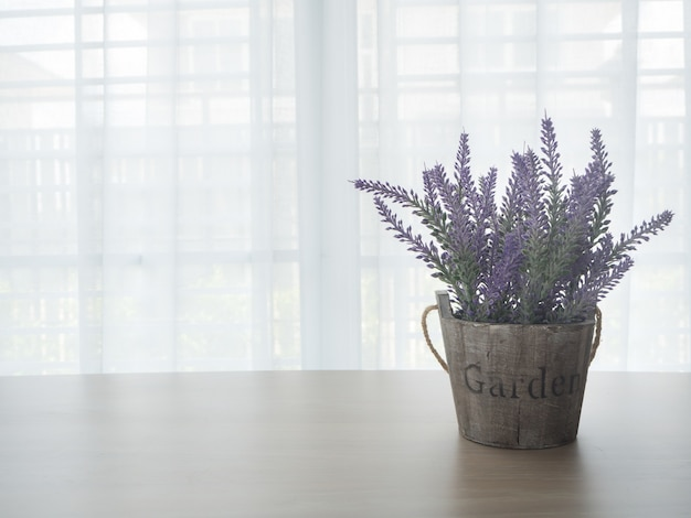 Wood table with lavender flower.