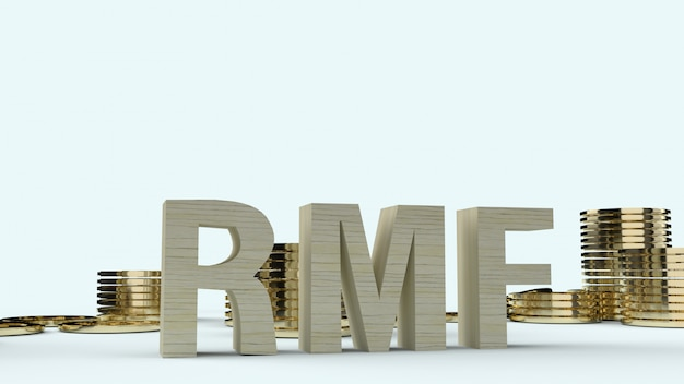 Wood text rmf and gold coons, 3d rendering.