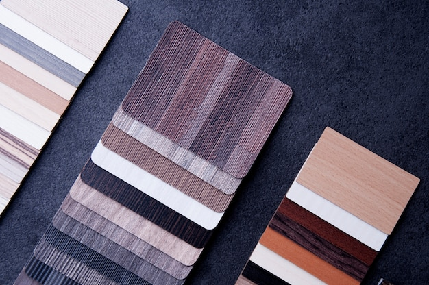 Wood texture floor samples of laminate and vinyl floor tiles