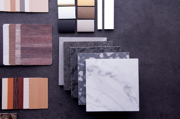 Wood texture floor samples of laminate and vinyl floor tiles
