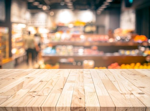 ぼかし食料品、マーケットストアと木目テクスチャテーブルトップ