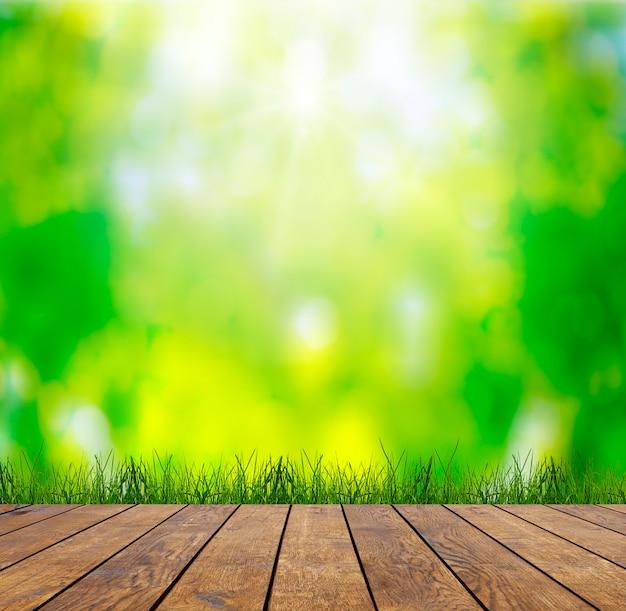 Фактуры дерева в интерьере комнаты на небесных полях Premium Фотографии