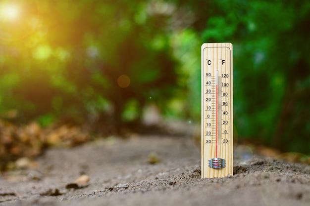 むくみの日に摂氏と華氏で校正された木材温度計。 -地球温暖化と気象の概念。