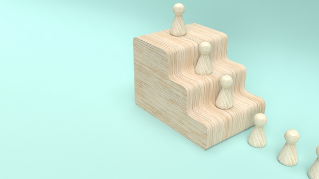 Wood toy  3d rendering for business concept.