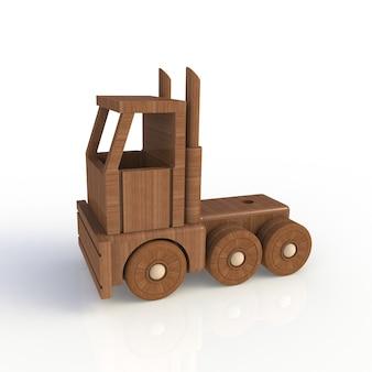 木製のおもちゃの車は、白い背景にします。側面図。 3dレンダリング。
