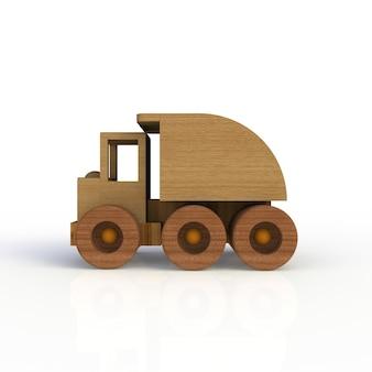 木のおもちゃの車が白い背景で隔離。側面図。 3dレンダリング