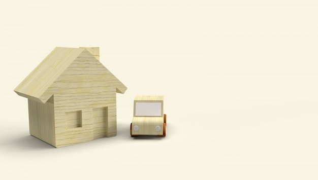 Wood toy house and car 3d rendering for business content.