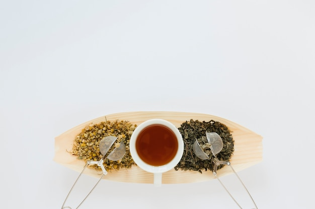 Wood tray with tea leaves and copy space