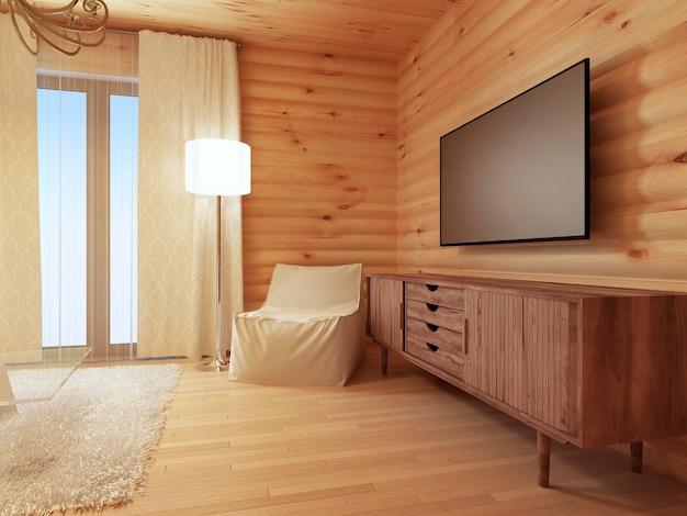 Деревянная консоль под телевизор с удобным белым креслом и торшером