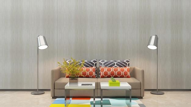 木製の壁のテクスチャ背景大理石の床のソファーのリビングルーム
