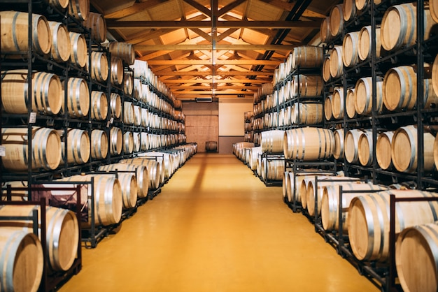 Wood wine barrels stored in a winery on the fermentation process