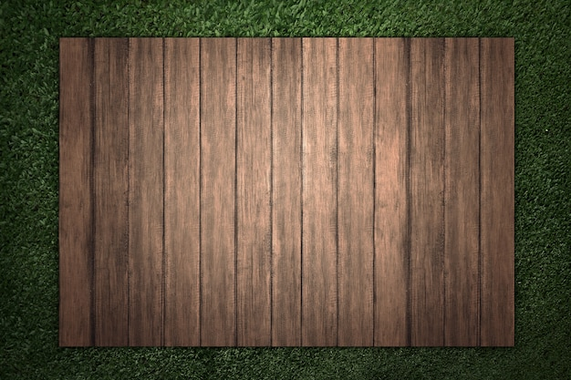 Wood with green grass background