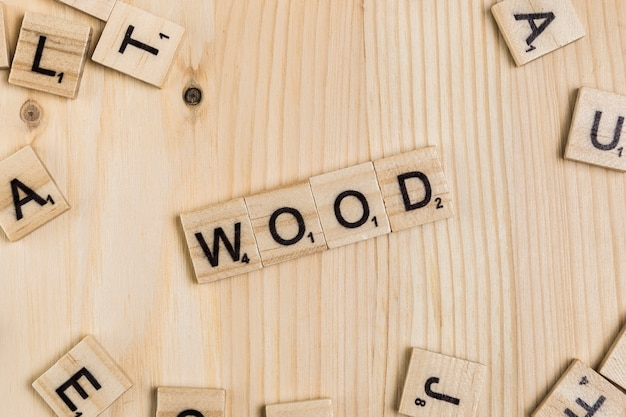 Wood word on wooden tiles