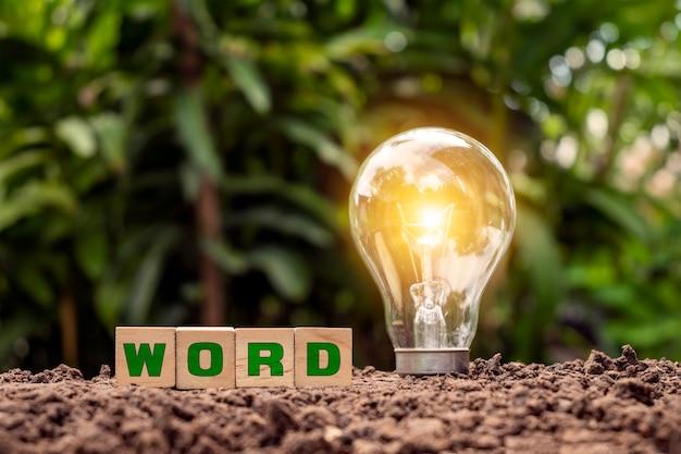 Woodblock은 바닥의 word와 에너지 절약 램프가 녹색 에너지 및 에너지 절약의 개념을 조명한다고 말합니다.