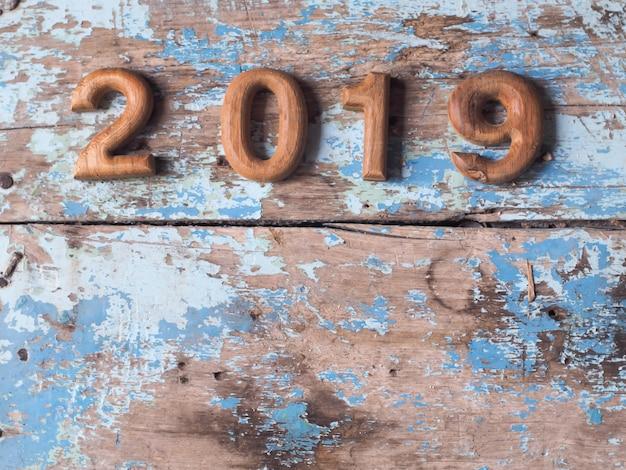 Wooden 2019 background