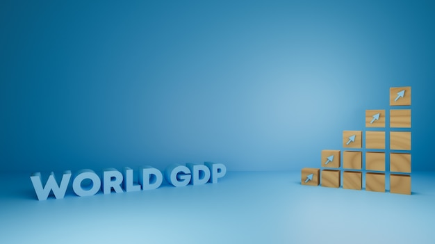 Gdp、金融、経済成長ビジネス向けの木製3dレンダリングデザイン。