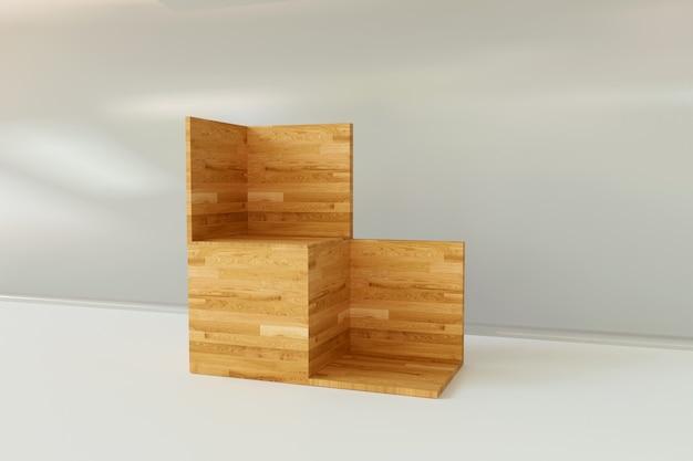 Деревянная подставка для 3d-рендеринга изолирована