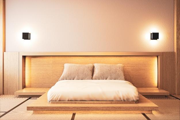 床wooden.3dレンダリングに隠された光を壁の壁と寝室のインテリアデザイン