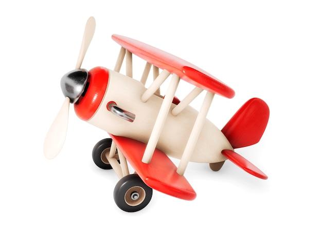 Деревянный самолет, изолированные на белом. 3d визуализация иллюстрации.