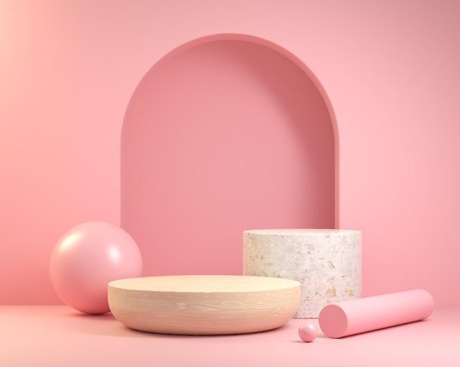 ピンクの背景に木と大理石の表彰台