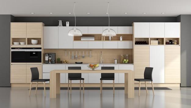 木製と白のモダンなキッチン