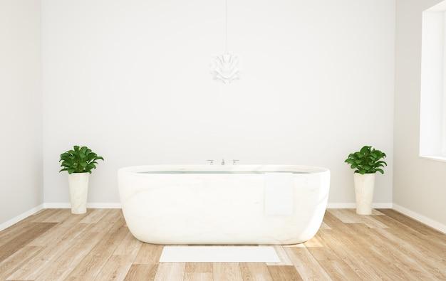 木製と白のスタイリッシュなバスルーム