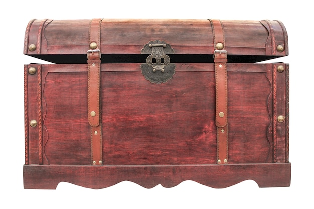 Wooden antique chest closeup isolated on white background