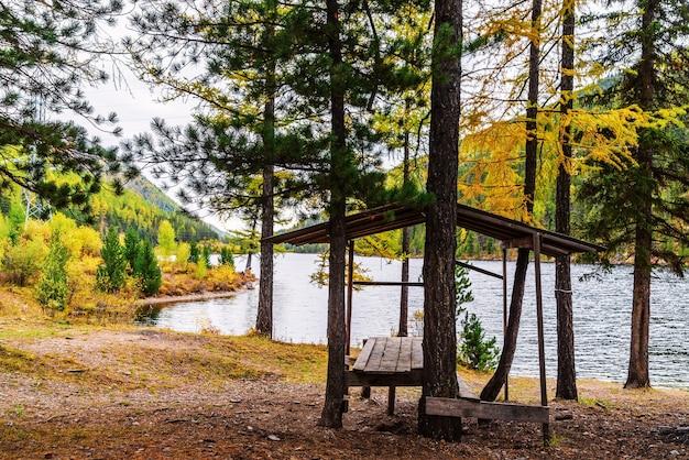 Cheybek-kohl 호숫가에 있는 나무 아버. 알타이 공화국, 러시아