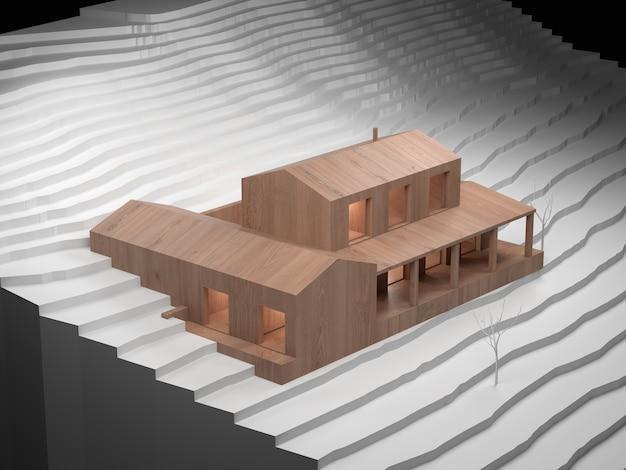 白い段ボールの輪郭線を持つ家の木製建築モデル