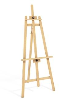 白い背景の上の木製アーティストイーゼル。 3dレンダリング。