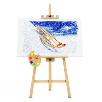 白い背景にそりで描く木製アーティストイーゼル。 3dレンダリング