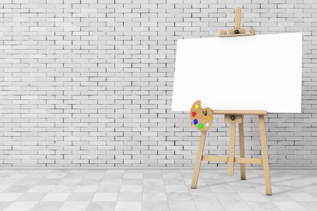 レンガの壁の前に白いモックアップキャンバスとパレットと木製のアーティストイーゼル。 3dレンダリング。