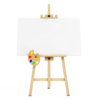 白い背景の上の白いモックアップキャンバスとパレットと木製アーティストイーゼル。 3dレンダリング。