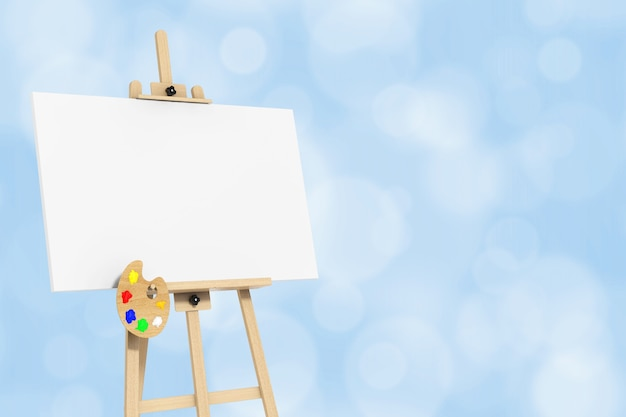Wooden artist easel with white mock up canvas and palette on a blue background. 3d rendering.