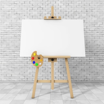 Wooden artist easel with white mock up canvas and palette in front of brick wall. 3d rendering.