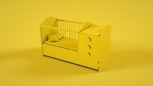黄色の背景に分離された木製のベビーベッド。 3dイラスト。