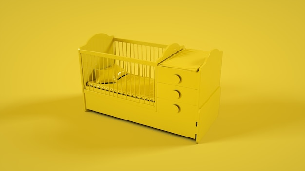 Wooden baby cot isolated on yellow background. 3d illustration.