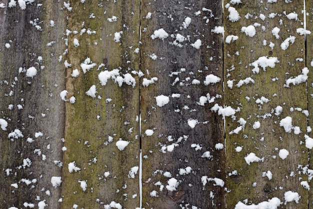 Wooden background covered with snow