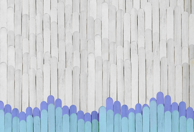 Wooden background from popsicle stick in grey and blue color