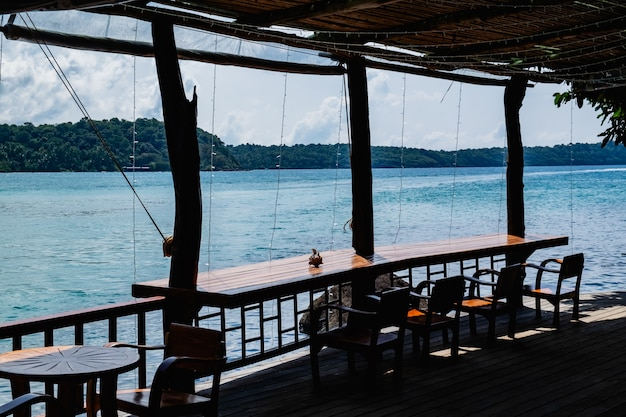 The wooden balcony on the sea