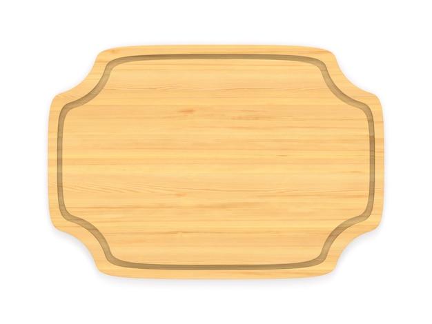 白いスペースに木製のバナー。分離された3dイラスト