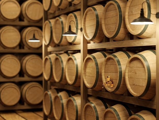 ゴールデンコルクの3dレンダリングに焦点を当てたワイン貯蔵用の木製バレルラック