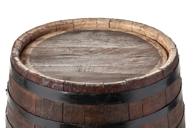 Wooden barrel with iron rings. isolated.