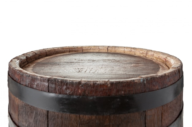 Wooden barrel with iron rings.